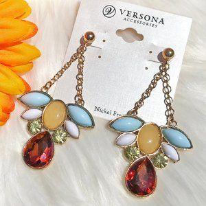 Boho Earrings Dress Crystal Rhinestone Post Dangle